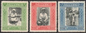 JAMAICA-1923 Child Welfare Set Sg 107-107c MOUNTED MINT V44170