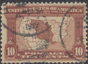 #327 10c Louisana Purchase - Map of Louisiana Purchase  Used