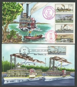 #2405-2409 25c STEAMBOATS ON HANDPAINTED FDC CACHETS BY HAM (2) DIFF BV1327
