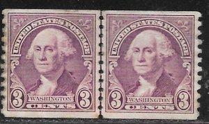 USA 721: 3c Washington, line pair, MH, F-VF, faults