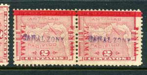 Canal Zone 1 Overprint Pair of Stamps with Scarce Varieties w/PF Cert (CZ1 pf1)