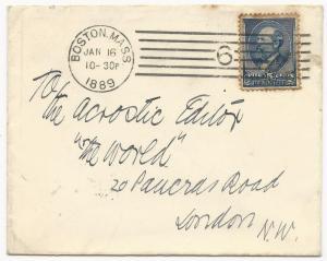 US Scott #216 on Cover Boston, Mass to London January 16, 1889