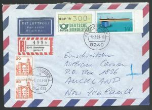 GERMANY 1989 Registered airmail cover to New Zealand - nice franking.......11271