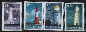 AUSTRALIA, 2047-2049A, 2950, MNH, 2001, LIGHTHOUSES & MAPS