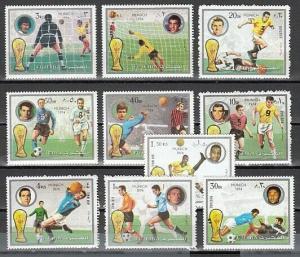 Fujeira, Mi cat. 1391-1400 A. Munich World Cup Soccer issue. ^