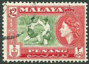 PENANG-1957 $2 Bronze-Green & Scarlet Sg 53 FINE USED V42834