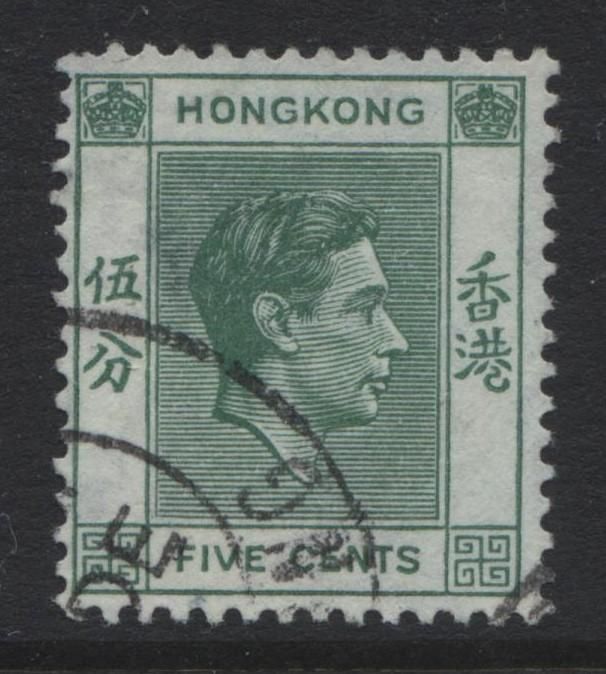 Hong Kong - Scott 157 - KGVI Definitive Issue- 1938 - FU - Single 5c Stamp