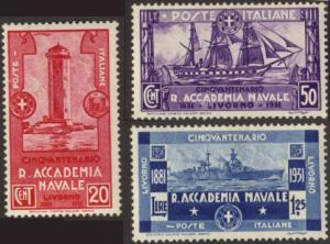 Italy #265-67 MH complete Naval Academy
