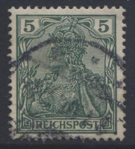 GERMANY. -Scott 54 - Definitives -1900 -Used - Green -Single 5pf Stamp3