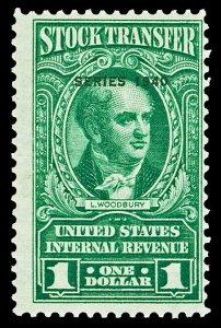 Scott RD79 1940 $1.00 Dated Green Stock Transfer Revenue Mint Fine+ LH Cat $75