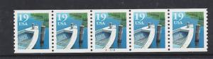 2529A, P# A5555, PLATE # STRIP of FIVE, **XF**, MINT NH, SHIP $1.00