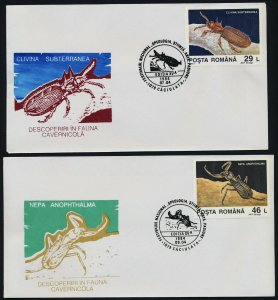 Romania 3875-80 on FDC's - Insects, Snail, Movile Cavern