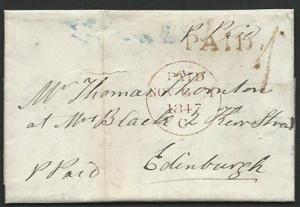 GB SCOTLAND 1847 wrapper FORFAR : PAID and UPP 1 in red....................60834
