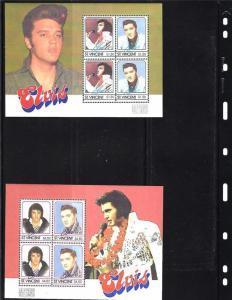 Zwei (2) Elvis Souvenir Blatt Ausgestellt 1985 von St.Vincent Beide Mint Never