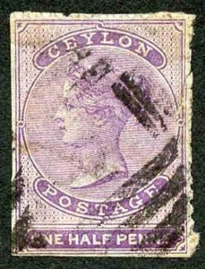 Ceylon SG48c 1/2d Mauve Wmk Crown CC Used