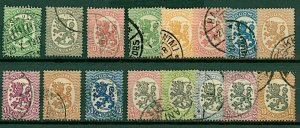 Finland 1918 Lion definitives 5p to 10m 1st issue (16v) VFU Stamps