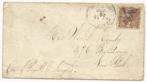 US Scott #113 Tied to Cover New York, NY Fancy Cancel October 29, 186(9)