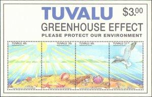 Tuvalu #649-652a, Complete Set(5), 1993, Birds, Marine Life, Never Hinged