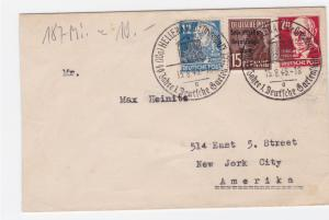 Germany Soviet Zone 1949 Hellerau to New York  stamps cover  R20733