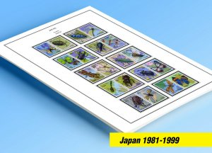 COLOR PRINTED JAPAN 1981-1999 STAMP ALBUM PAGES (130 illustrated pages)