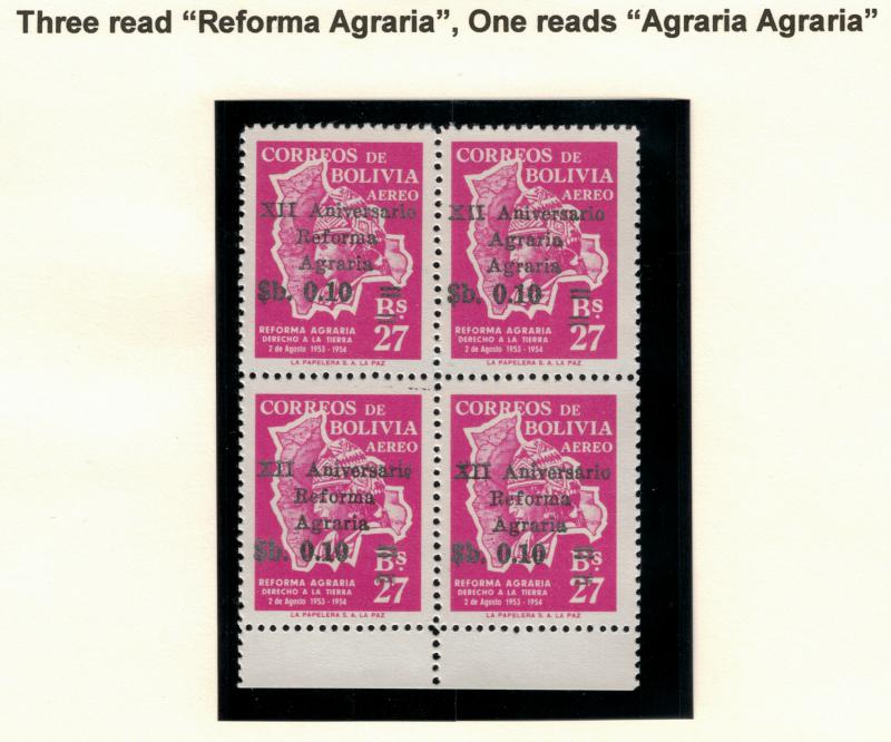 Bolivia Stamp Scott #C-261 and C-261a, Block of Four, One With Error - Free U...