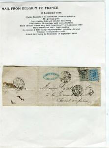 FRANCE Early Incoming LETTER/COVER 1868 fine used item Brussels - La Tremblade