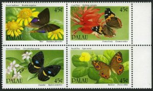 Palau 242-245a block,MNH.Michel 366-369, Butterflies and Flowers 1990.