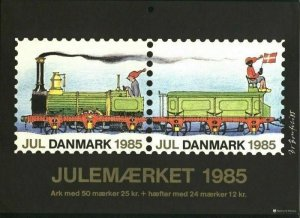Denmark.Christmas Seal.1985.1 Post Office,Display,Advertising Sign.Railway,Train