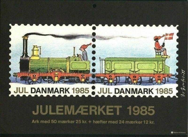 Denmark.Christmas Seal.1985.1 Post Office,Display,Advertising Sign.Railway,Train