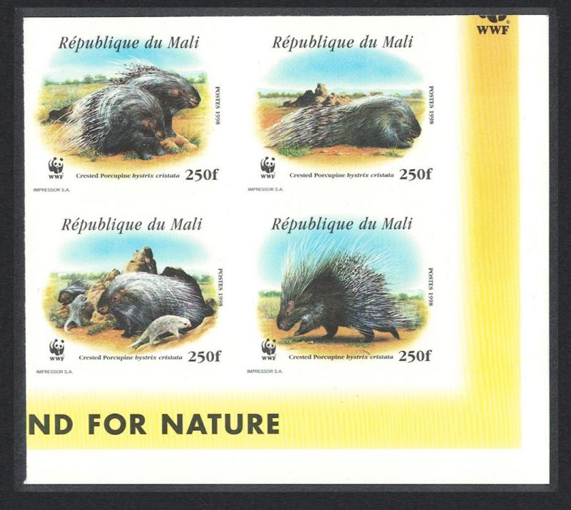 Mali WWF Crested Porcupine Bottom Right Imperf Block of 4 SC#918 a-d