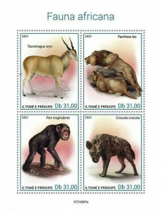 Sao Tome & Principe 2021 MNH Wild Animals Stamps African Fauna Lions 4v M/S