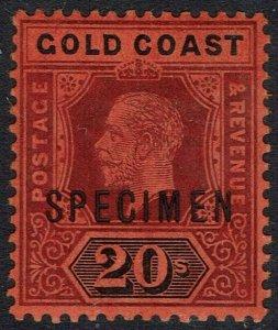 GOLD COAST 1913 KGV 20/- SPECIMEN