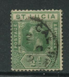 1/2dSt. Lucia - Scott 64 - KGV - Definitive -1912 - Used -Single 1/2d Stamp