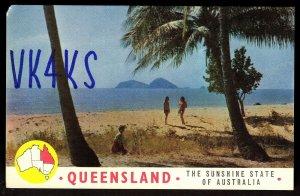 QSL QSO RADIO CARD Queensland, Beach,Women,Sunshine State of Australia,(Q2911)