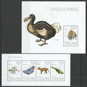 TG637 2013 TOGO ENDANGERED SPECIES ANIMALS BIRDS FISHES BUTTERFLIES KB+BL MNH