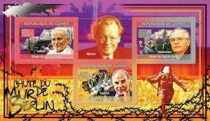 Berlin Wall Stamp Fall Pope John M. Gorbachev Helmut Kohl Willy Brandt S/S MNH