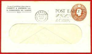 ES69 KGVI 2d Brown Fassett and Johnson Ltd Stamped to Order Envelope Used