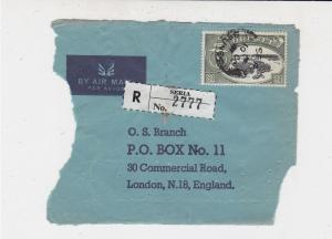 Brunei Airmail Registered Seria Stamps Cover FRONT to England Ref 33234