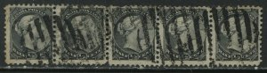Canada QV 1882 1/2 cent Small Queen strip of 5 used