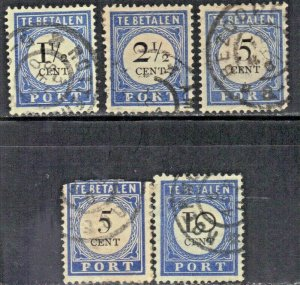 NETHERLANDS SC# J15,16,19,22 **USED** 1896-1910  POSTAGE DUE  SEE SCAN