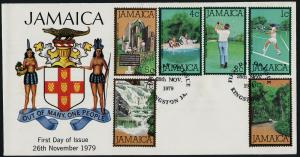 Jamaica 465-70 on FDC - Sports, Golf, Tennis, Trees, Horses, Waterwheel