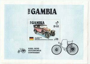 The Gambia; 1986 Karl Benz Automobile Centenary Sheetlet, MNH, Cars, SC#628