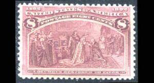 #236 Very Fine 8¢ Columbian Full Gum Hinged  (6r)