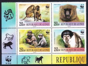 Guinea WWF Mangabey and Baboon Bottom left block 2*2 with WWF Logo
