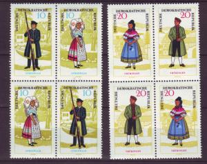 J19263 Jlstamps 1964 germany DDR part of set mnh blks/4  #742a,744a people