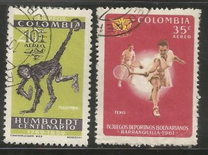 COLOMBIA  C413, C415  USED,  1961 ISSUES