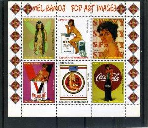 Somaliland 1999 MEL RAMOS POP ART Coca Colas sheet (6) Perforated Mint (NH)
