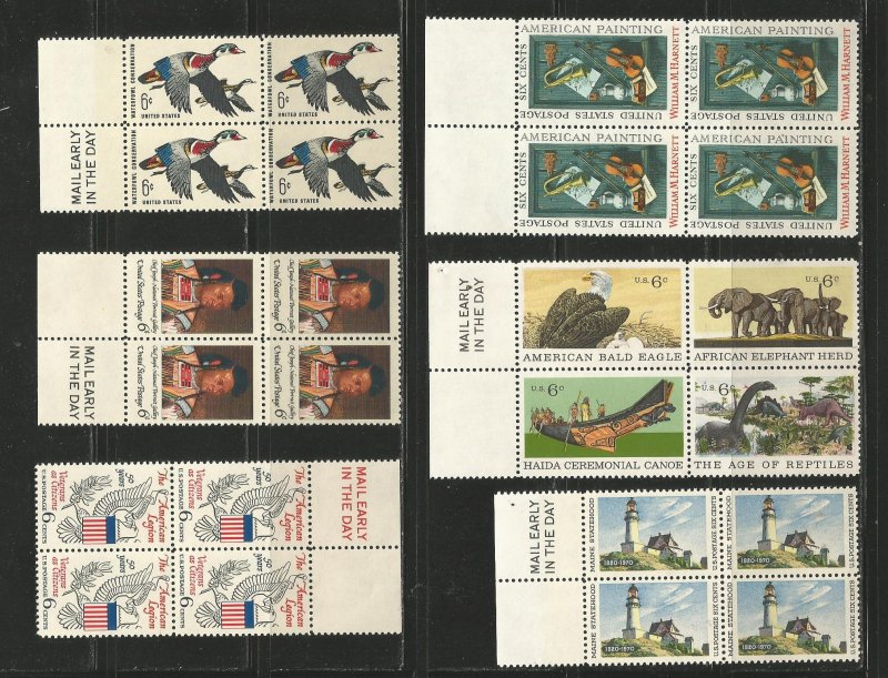 USA Stamps #1362,1364,1369,1386,1390,1391 Blocks of 4