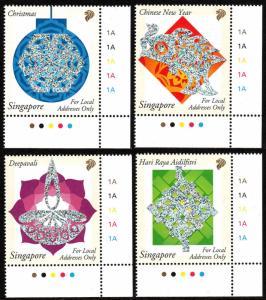 Singapore 1026-1029, MNH.Festivals.Christmas,New Year,Deepavali,Eid ul-Fitr,2002