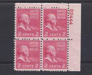 United States, 806, John Adams Plate Block of 4, 22444, UR, MNH